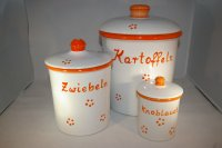 Set Retro orange Kartoffel Zwiebel Knobi grade ohne Henkel